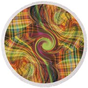 Plaid Tumble Round Beach Towel by rd Erickson