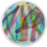 Round Beach Towel featuring the painting Plaid Wine by Diane Pape