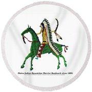 Round Beach Towel featuring the digital art Plains Indians Equestrian Warrior Circa 1850 by Peter Gumaer Ogden