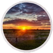 Plains Sunset Round Beach Towel