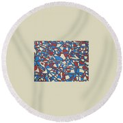 Planet Abstract Round Beach Towel by Jonathon Hansen
