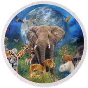 Planet Earth Round Beach Towel by David Stribbling