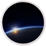 Planet Earth With Rising Sun Round Beach Towel