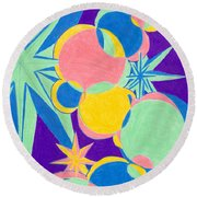 Planets And Stars Round Beach Towel