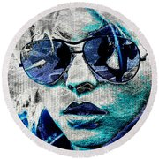 Platinum Blondie Round Beach Towel by Absinthe Art By Michelle LeAnn Scott