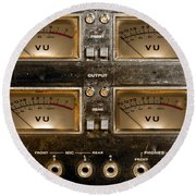 Round Beach Towel featuring the photograph Playback Recording Vu Meters Grunge by Gunter Nezhoda
