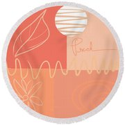 Playful Peach Round Beach Towel by Lourry Legarde