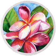 Playful Plumeria Round Beach Towel