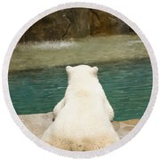 Playful Polar Bear Round Beach Towel by Adam Romanowicz