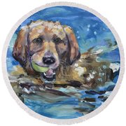 Playful Retriever Round Beach Towel