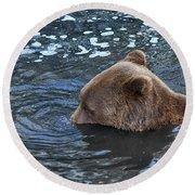 Playful Submerged Bear Round Beach Towel