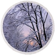 Playhouse Through Snow Round Beach Towel