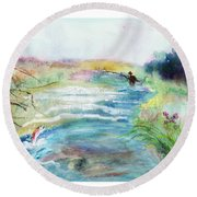 Round Beach Towel featuring the painting Playin' Hooky by C Sitton