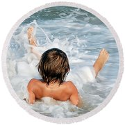 Playing In The Waves Round Beach Towel