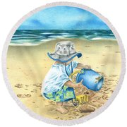 Playing On The Beach Round Beach Towel by Troy Levesque