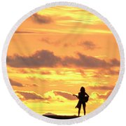 Playing To The Sun Round Beach Towel