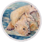You Need Another Nap, Polar Bears Round Beach Towel