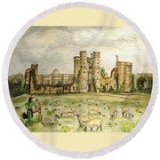 Plein Air Painting At Cowdray House Sussex Round Beach Towel by Angela Davies