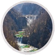 Plitvice Lakes National Park Canyon Round Beach Towel