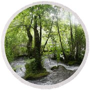 Plitvice Lakes Round Beach Towel by Travel Pics