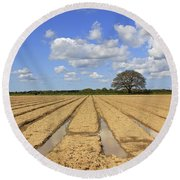 Ploughed Field Round Beach Towel