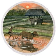 Plowing The Ricefield Round Beach Towel by Melly Terpening