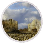Round Beach Towel featuring the photograph Plum Island Fence by Betty Denise