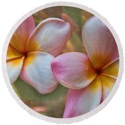 Plumeria Pair Round Beach Towel by Peggy Hughes