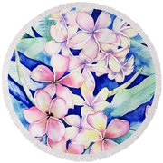 Plumerias Of Maui Round Beach Towel