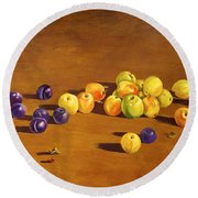 Plums And Apples Still Life Round Beach Towel