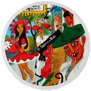 Round Beach Towel featuring the painting Pneumatic Girl At The Railroad Station by Don Pedro De Gracia