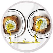 Poached Egg Love Round Beach Towel
