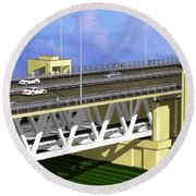 Podilsky Bridge Round Beach Towel by Oleg Zavarzin