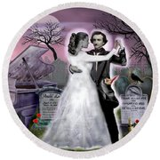 Poe And Annabel Lee Eternally Round Beach Towel by Glenn Holbrook