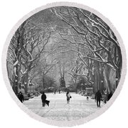 New York City - Poets Walk Winter Round Beach Towel