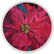 Poinsettia II Painting Round Beach Towel