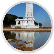 Point Abino Reflections Round Beach Towel