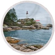Point Atkinson Lighthouse And Rocky Shore Round Beach Towel by Jeff Goulden