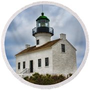 Point Loma Lighthouse Round Beach Towel