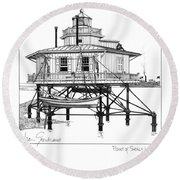 Round Beach Towel featuring the drawing Point Of Shoals Lighthouse by Ira Shander