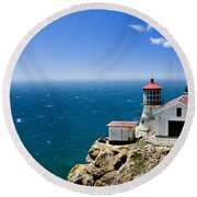 Point Reyes Lighthouse California Round Beach Towel