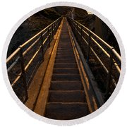 Point Reyes Lighthouse Staircase Round Beach Towel