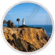 Round Beach Towel featuring the photograph Point Vicente Lighthouse by Eleanor Abramson