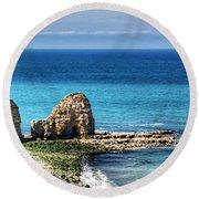 Pointe Du Hoc Round Beach Towel