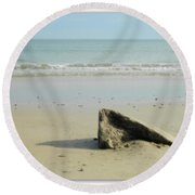 Pointed Rock At Squibby Round Beach Towel by Kathy Barney