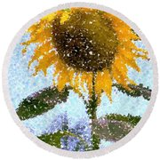 Pointillist Sunflower In Sun City Round Beach Towel