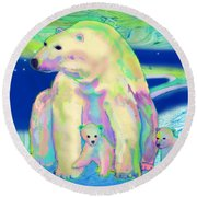 Polar Bear Aurora Round Beach Towel