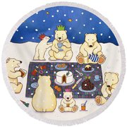 Polar Bear Picnic Round Beach Towel