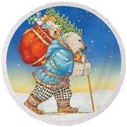 Polar Bear Santa Claus Round Beach Towel