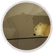 Polar Bear Shadows Round Beach Towel